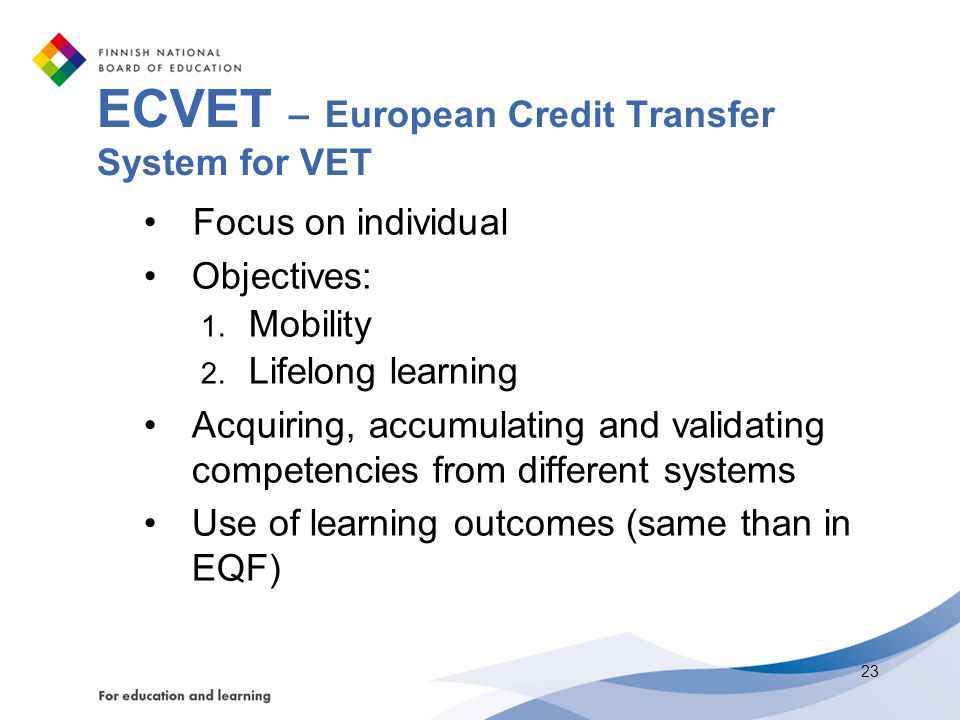 ECVET – European Credit Transfer System for VET