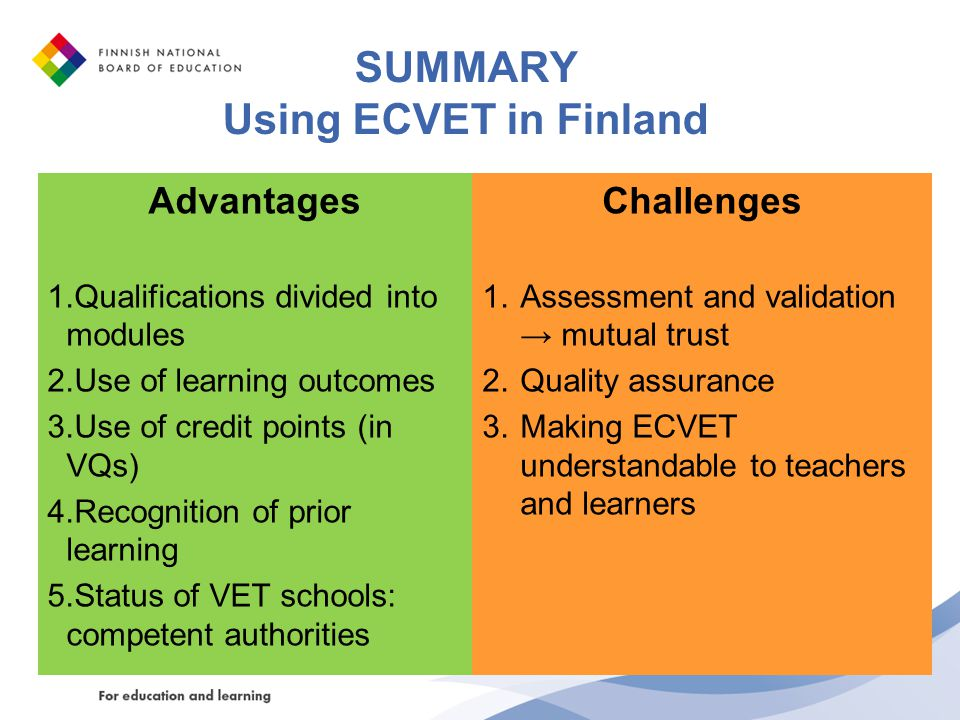 SUMMARY Using ECVET in Finland