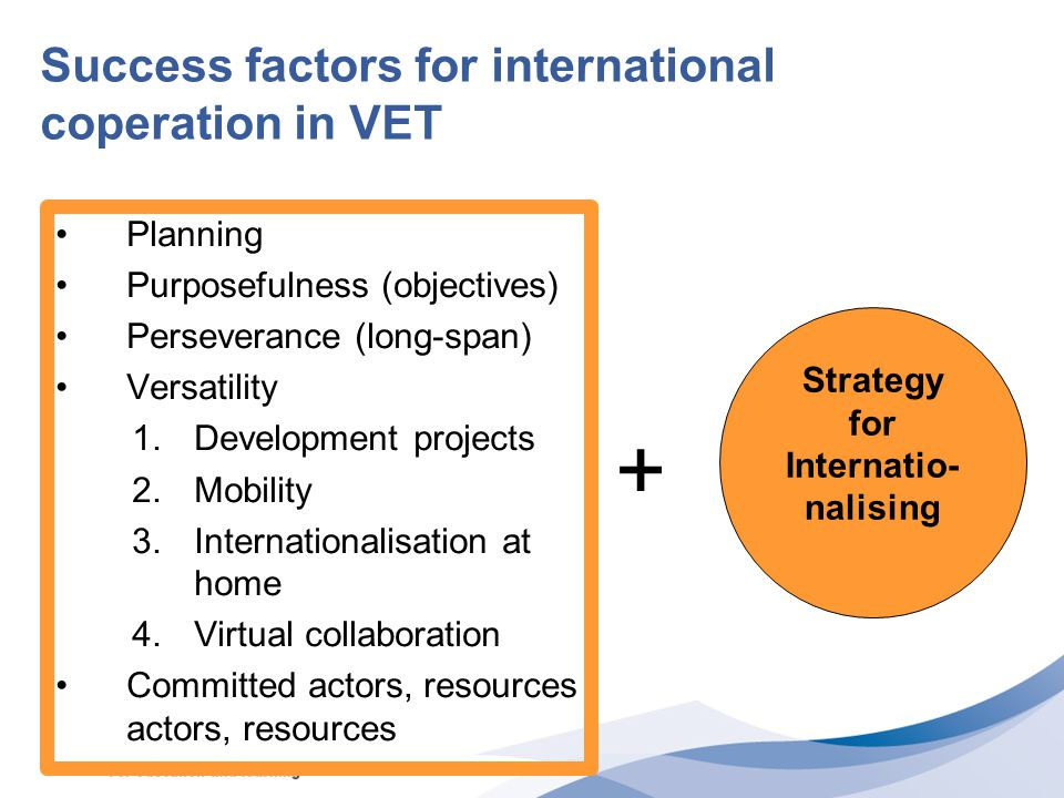 Success factors for international coperation in VET