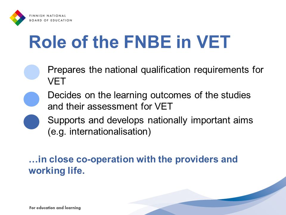 Role of the FNBE in VET Prepares the national qualification requirements for VET.
