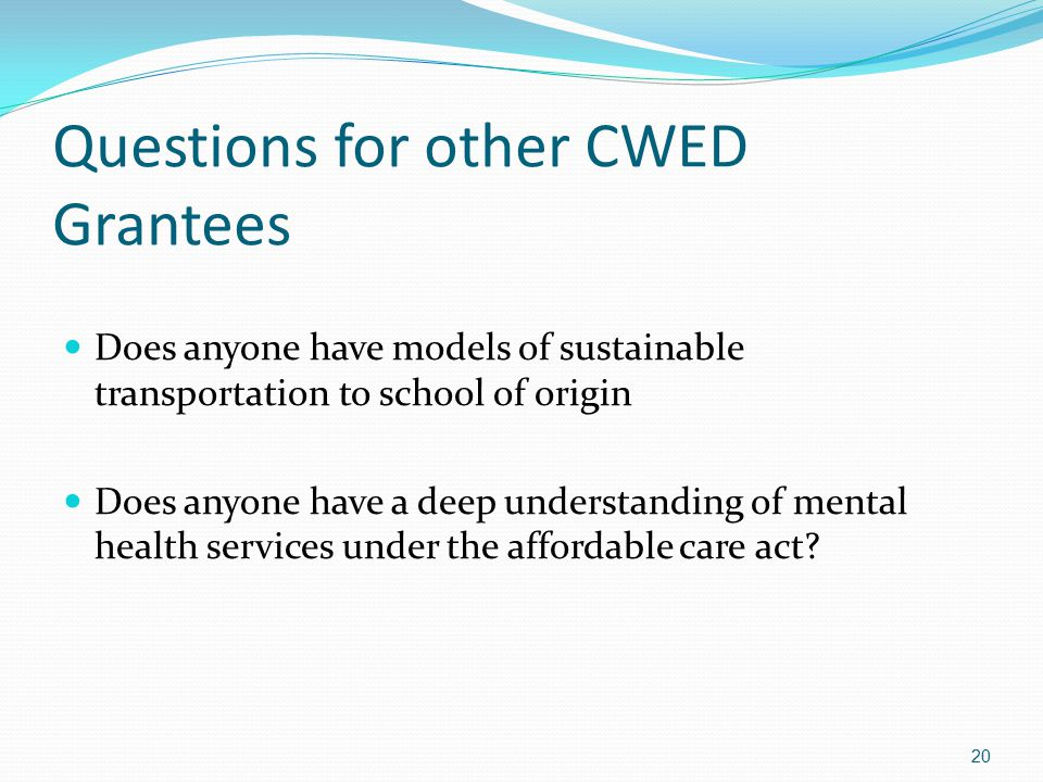 Questions for other CWED Grantees