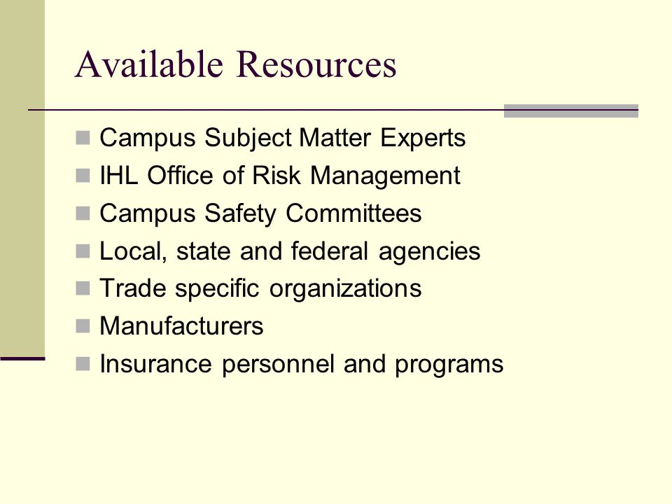 Available Resources Campus Subject Matter Experts