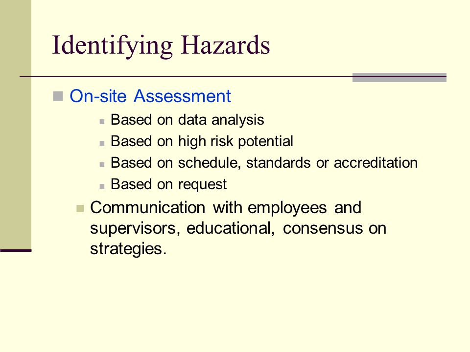 Identifying Hazards On-site Assessment