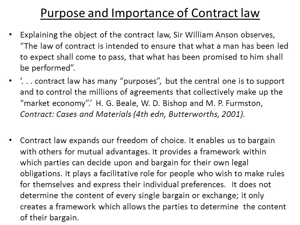 importance of law of contract
