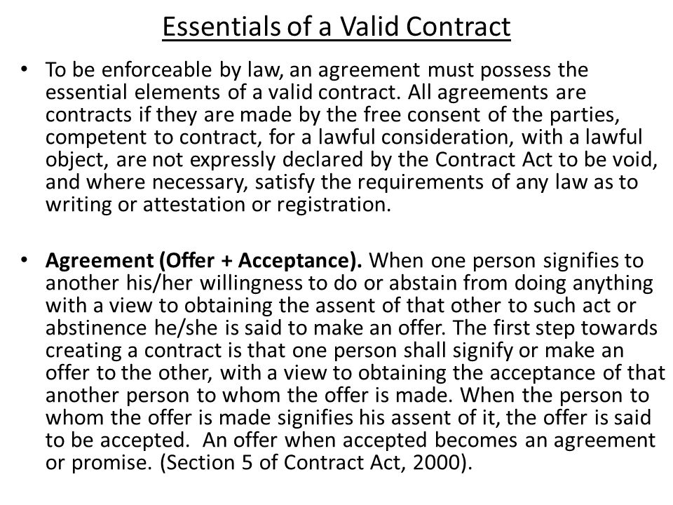 discuss the essential elements of a valid contract