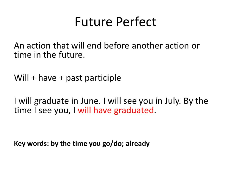 Future Perfect An action that will end before another action or time in the future. Will + have + past participle.