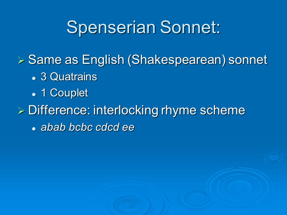 Spenserian Sonnet: Same as English (Shakespearean) sonnet