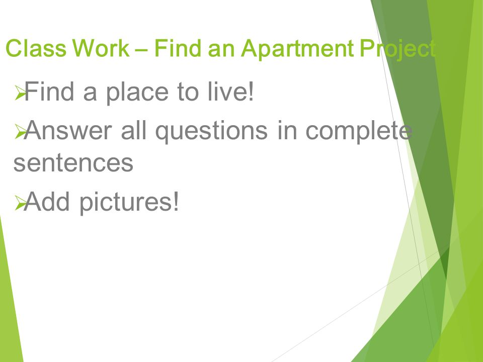 Class Work – Find an Apartment Project