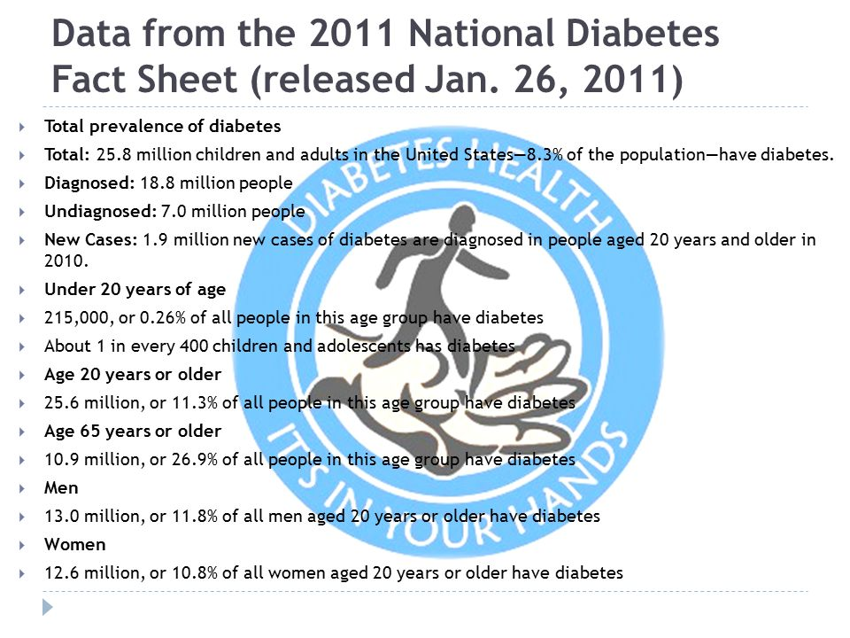 Data from the 2011 National Diabetes Fact Sheet (released Jan
