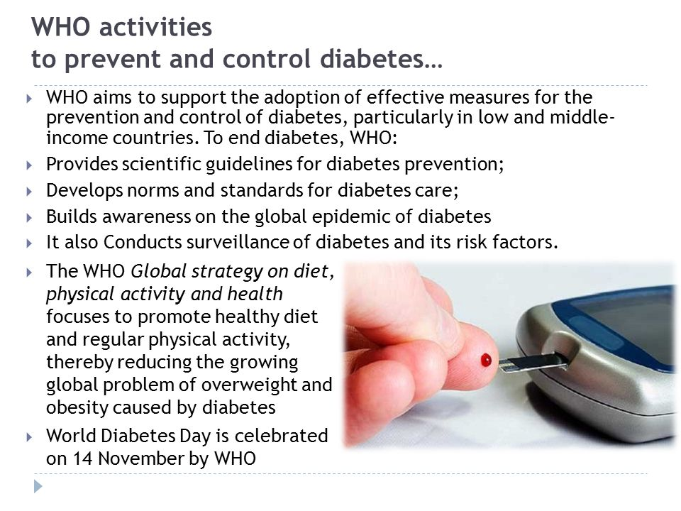 WHO activities to prevent and control diabetes…