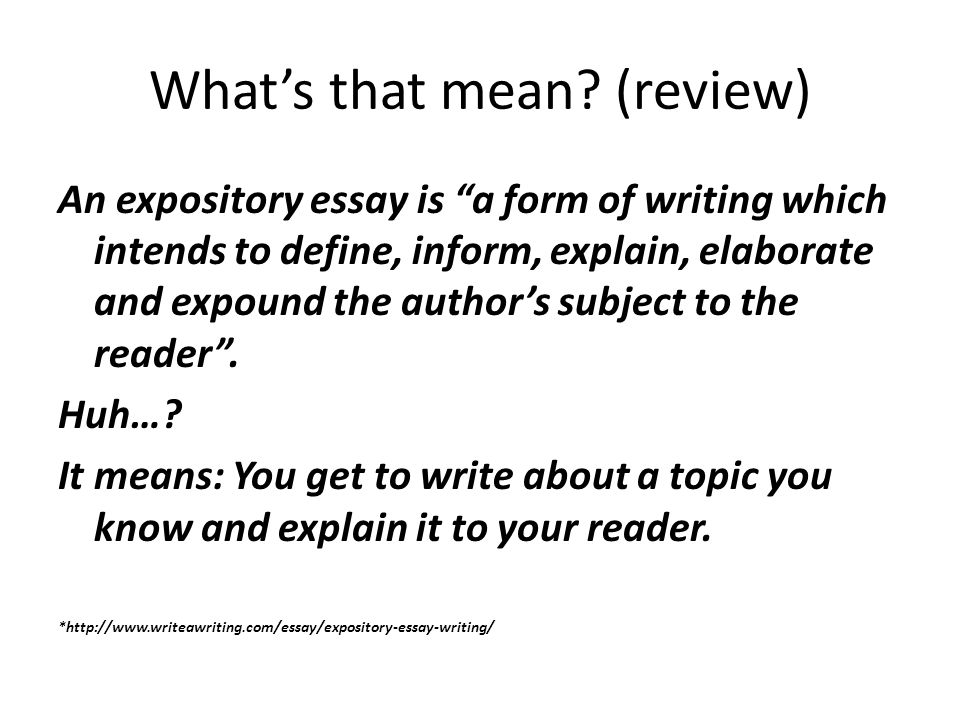 espository essay how to write elementary How to write an expository essay - outline, structure, format, examples, topics how to write an expository essay this type of essay is aimed to explain some subject by presenting a very clear and complete picture of other people's views on this certain situation or event.