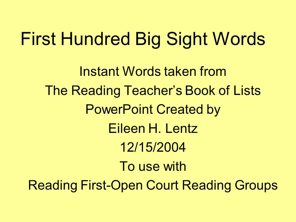 First Hundred Big Sight Words