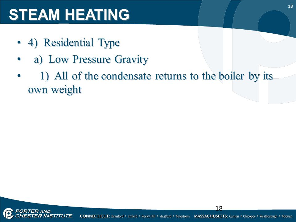 STEAM HEATING 4) Residential Type a) Low Pressure Gravity