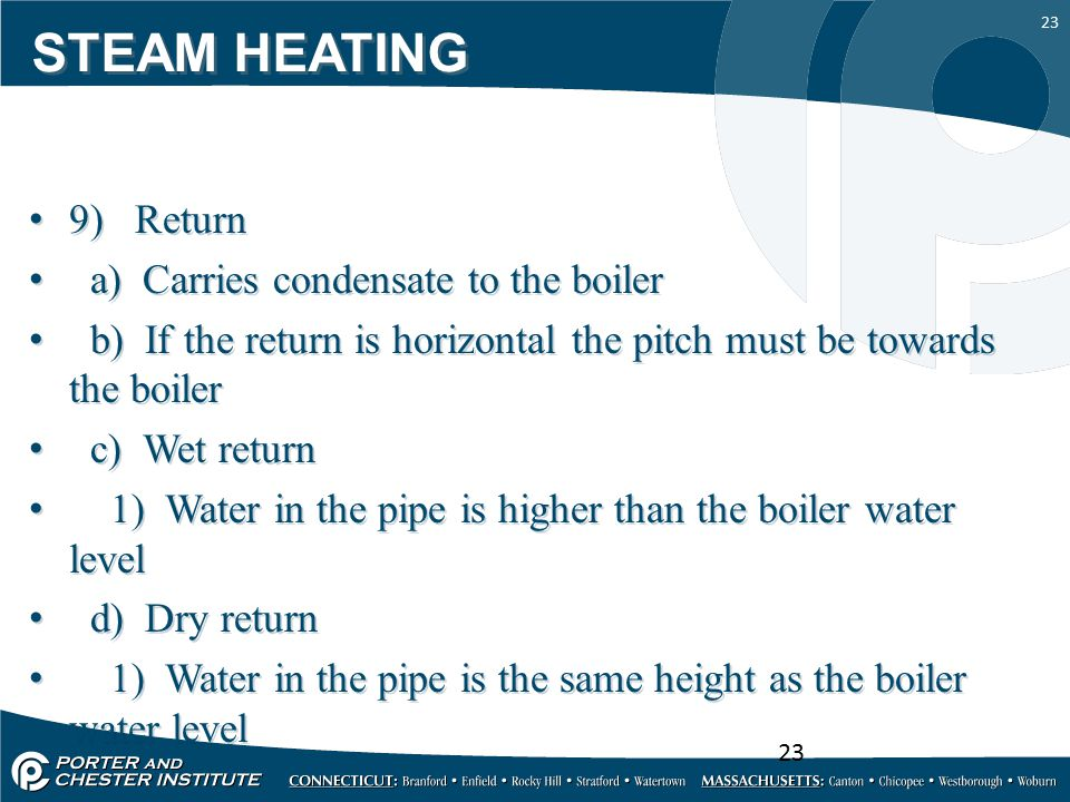 STEAM HEATING 9) Return a) Carries condensate to the boiler