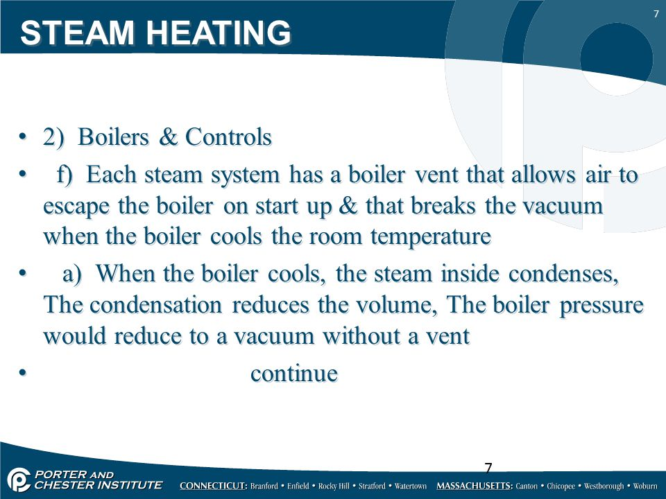 STEAM HEATING 2) Boilers & Controls