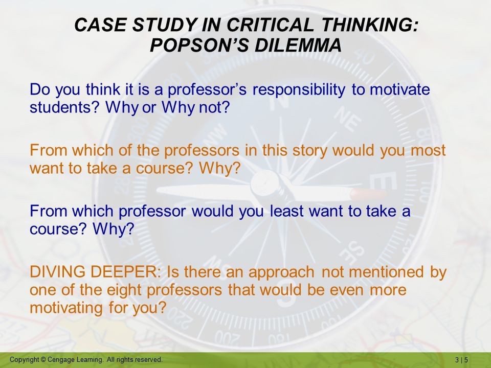 case study in critical thinking popsons dilemma