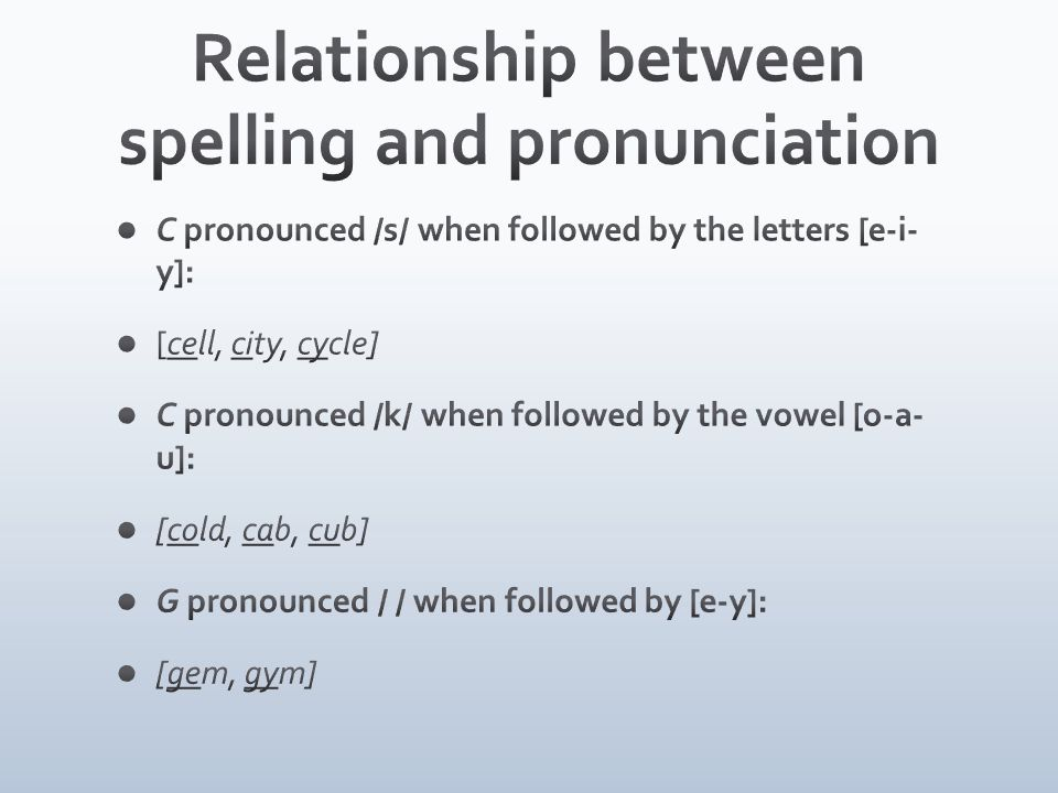 Relationship between spelling and pronunciation