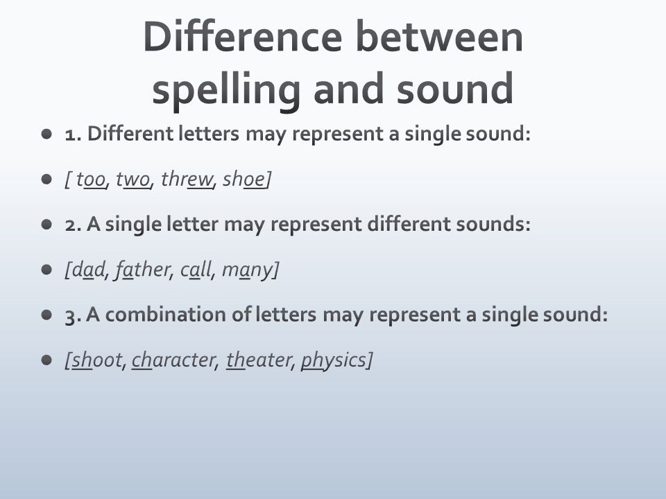 Difference between spelling and sound