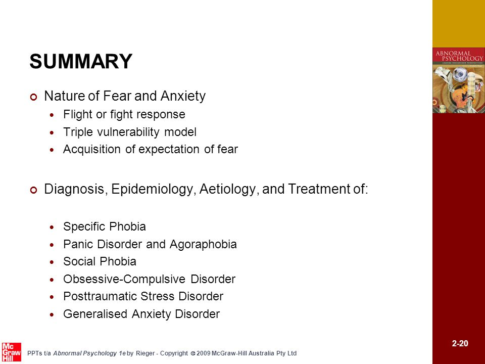 SUMMARY Nature of Fear and Anxiety