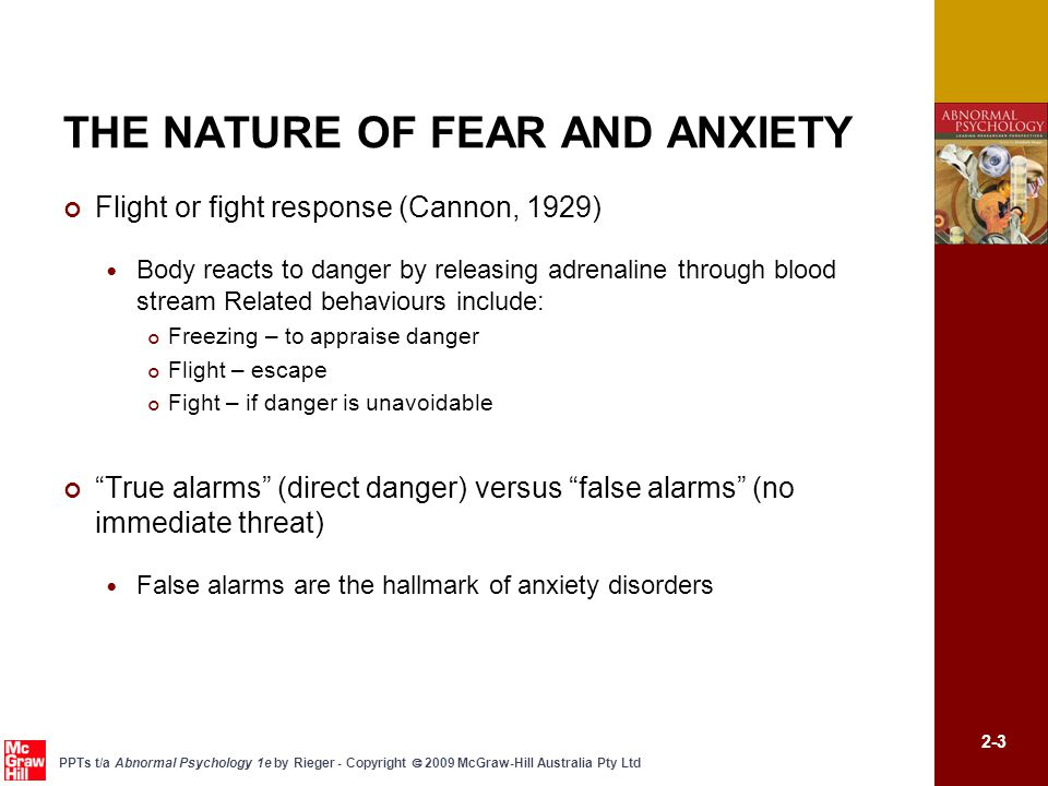 THE NATURE OF FEAR AND ANXIETY