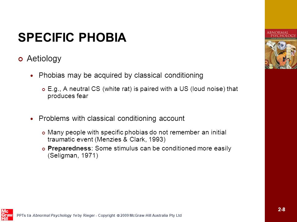SPECIFIC PHOBIA Aetiology