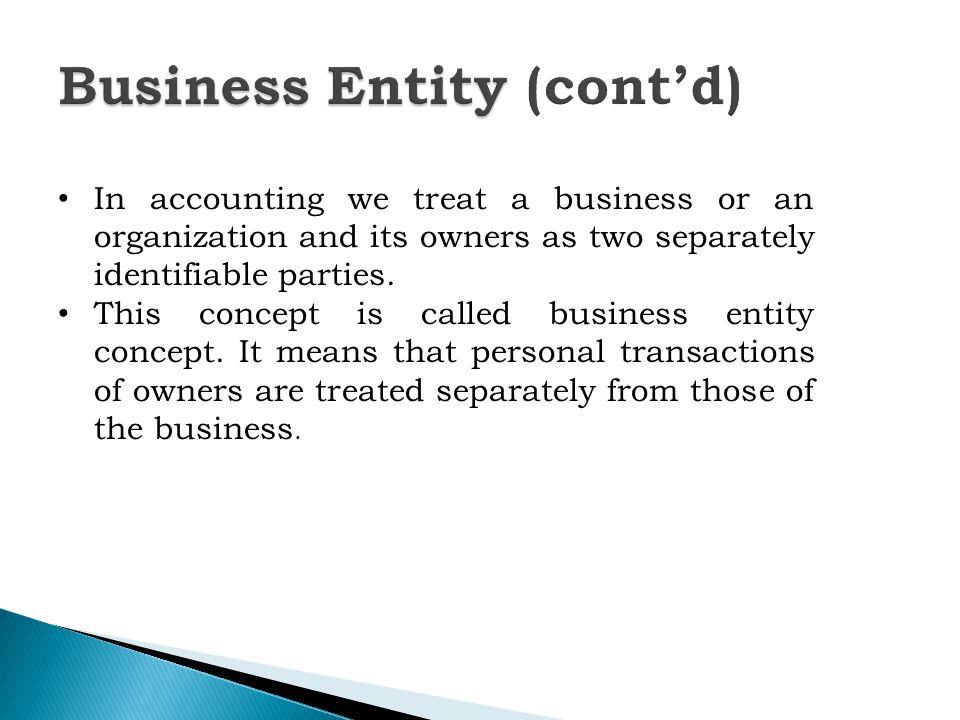 business entity concept means that