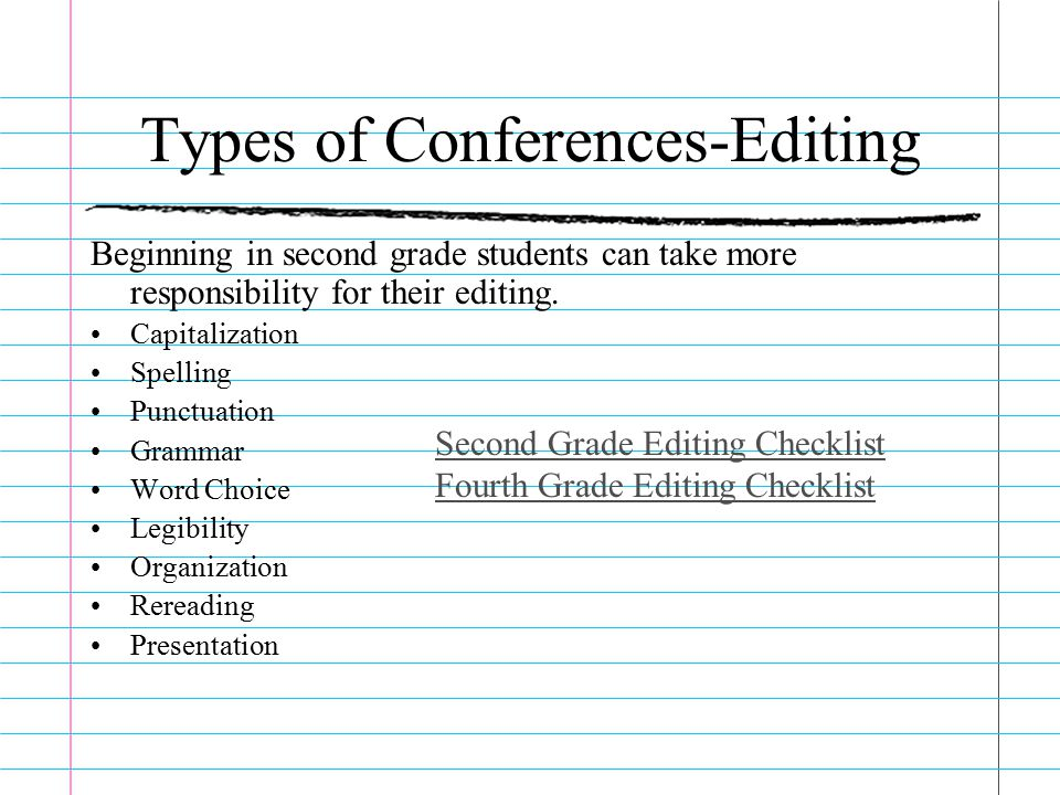 second grade editing checklist