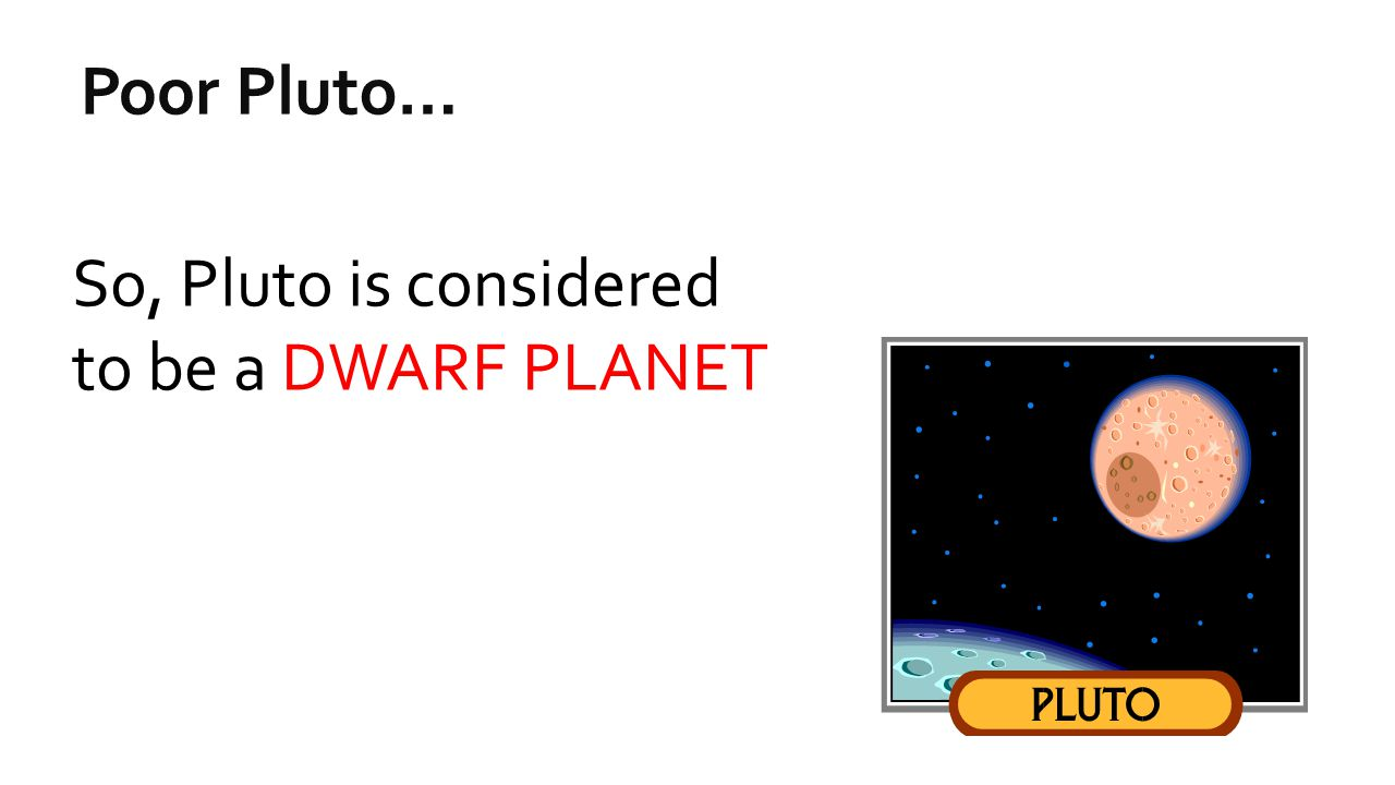 Poor Pluto… So, Pluto is considered to be a DWARF PLANET
