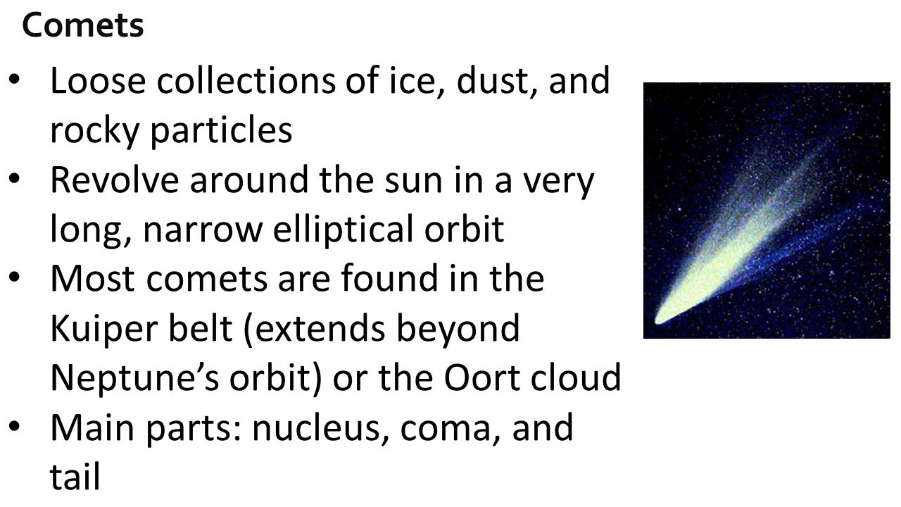 Loose collections of ice, dust, and rocky particles