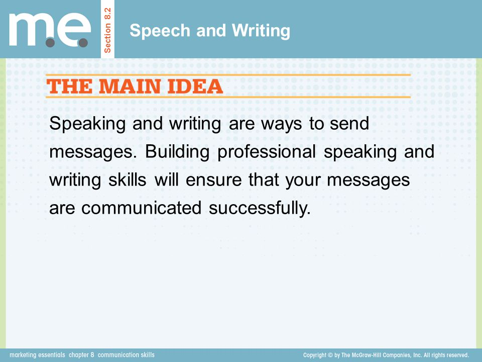 Speech and Writing Section 8.2.