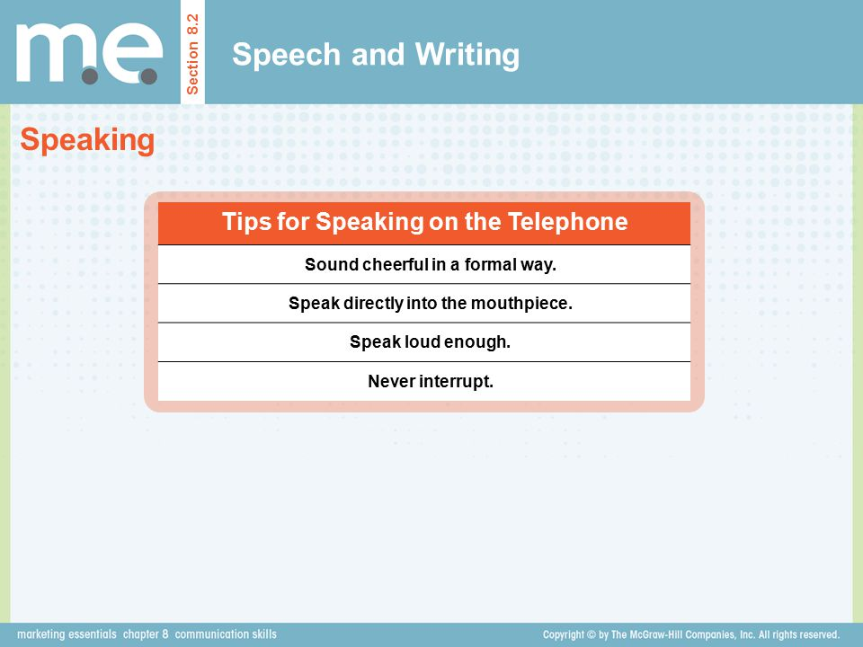 Speech and Writing Speaking Tips for Speaking on the Telephone
