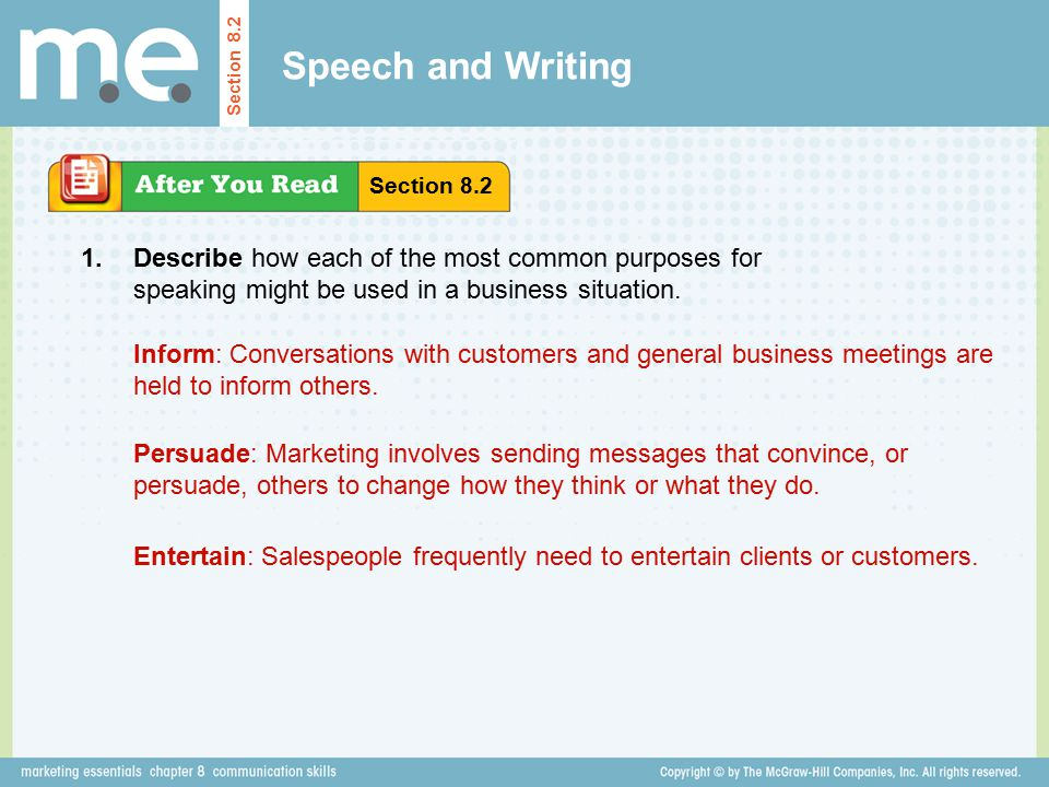 Speech and Writing Section 8.2. Section Describe how each of the most common purposes for speaking might be used in a business situation.