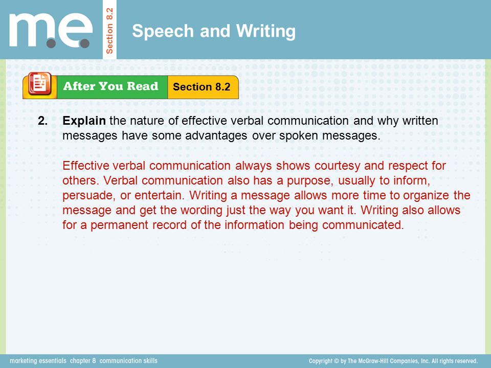 Speech and Writing Section 8.2. Section