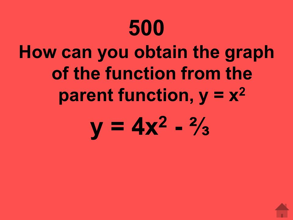 500 How can you obtain the graph of the function from the parent function, y = x2 y = 4x2 - ⅔
