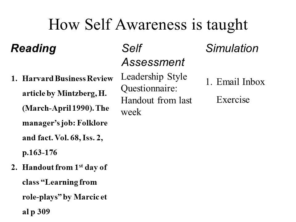 self awareness assessment