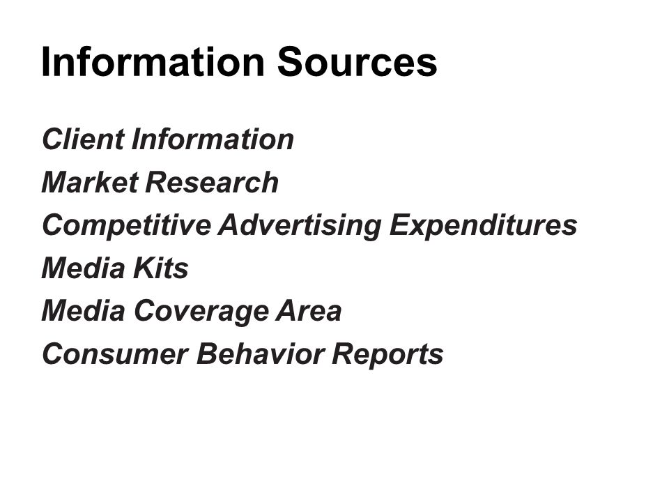 Information Sources Client Information Market Research