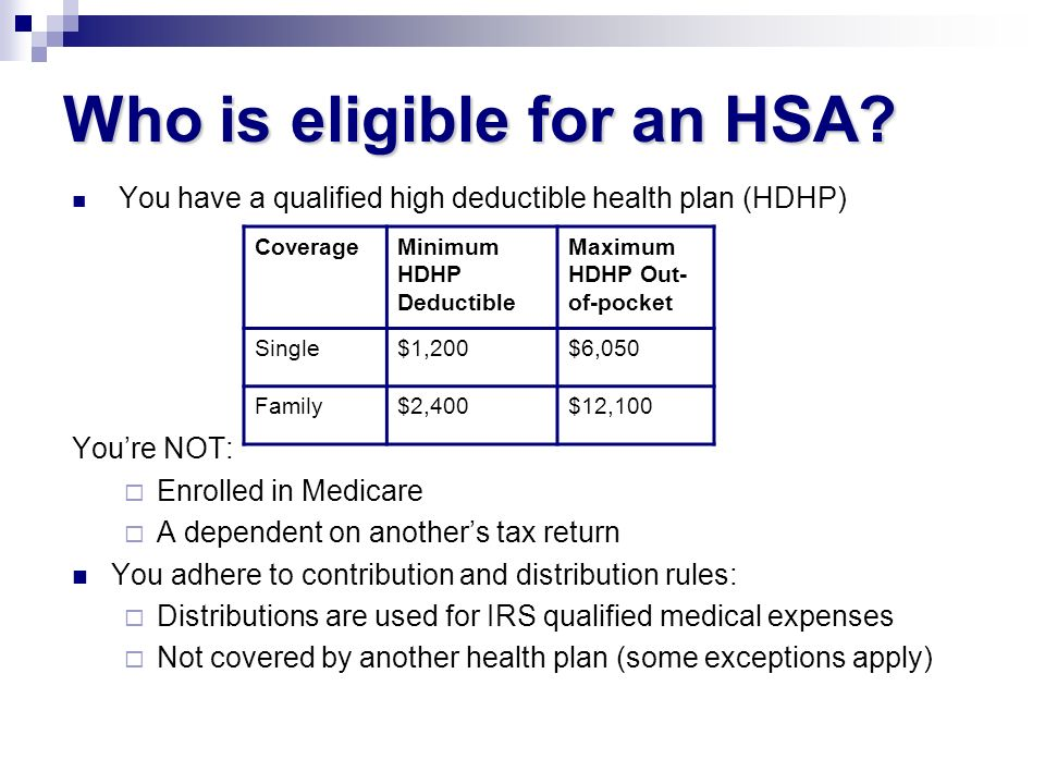 Who is eligible for an HSA