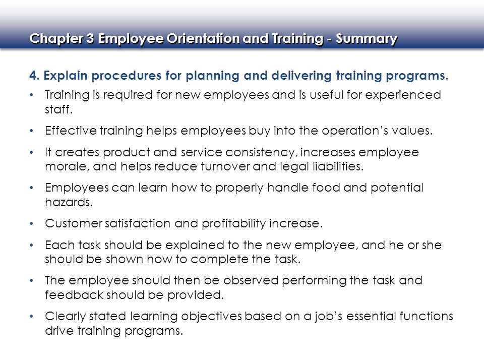 4. Explain procedures for planning and delivering training programs.