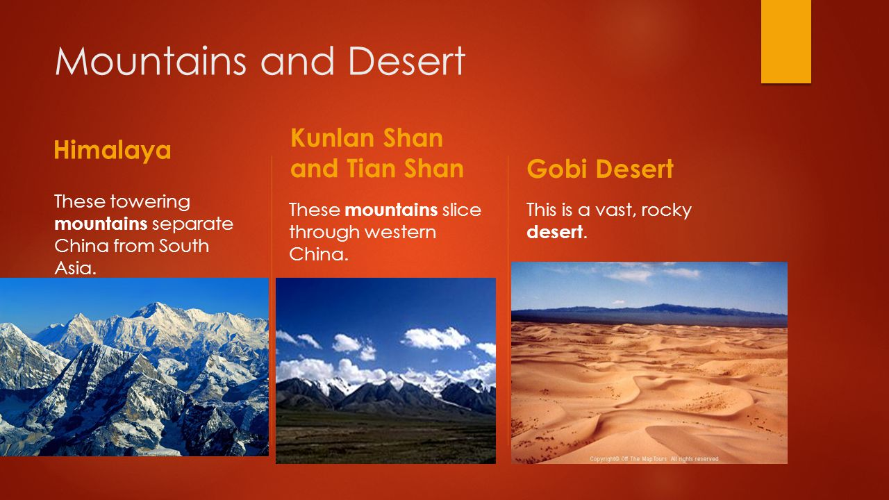 Mountains and Desert Himalaya Kunlan Shan and Tian Shan Gobi Desert