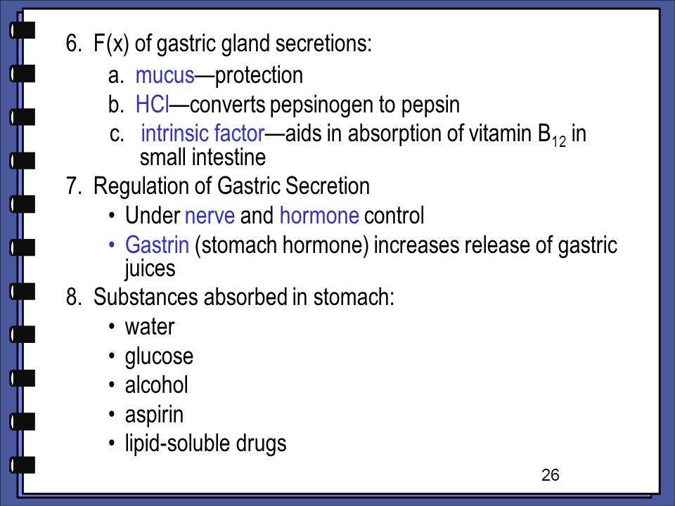 6. F(x) of gastric gland secretions: