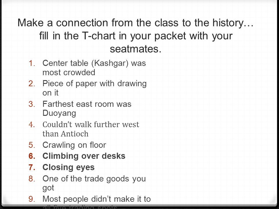 Make a connection from the class to the history… fill in the T-chart in your packet with your seatmates.