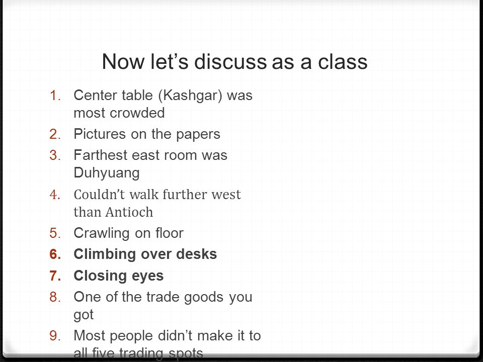 Now let's discuss as a class