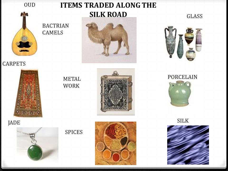 ITEMS TRADED ALONG THE SILK ROAD