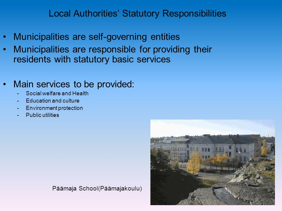 Local Authorities' Statutory Responsibilities