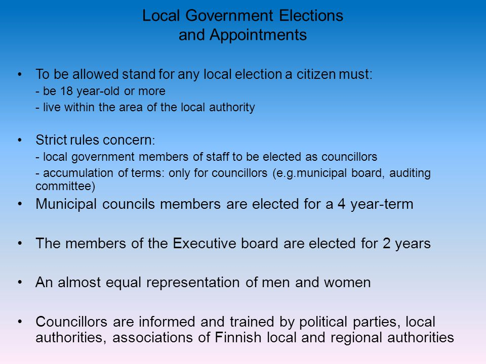 Local Government Elections and Appointments