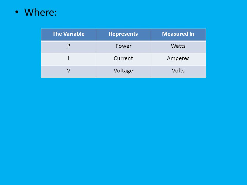 Where: The Variable Represents Measured In P Power Watts I Current