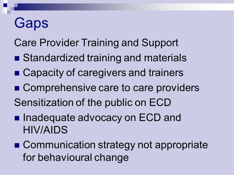 Gaps Care Provider Training and Support