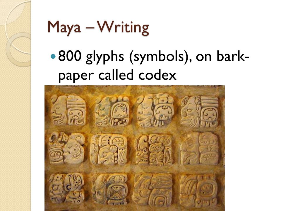 Maya – Writing 800 glyphs (symbols), on bark- paper called codex