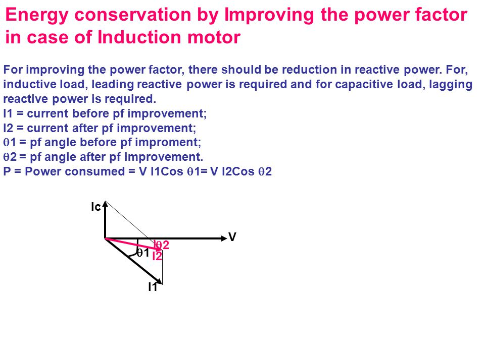 Energy conservation by Improving the power factor in case of Induction motor