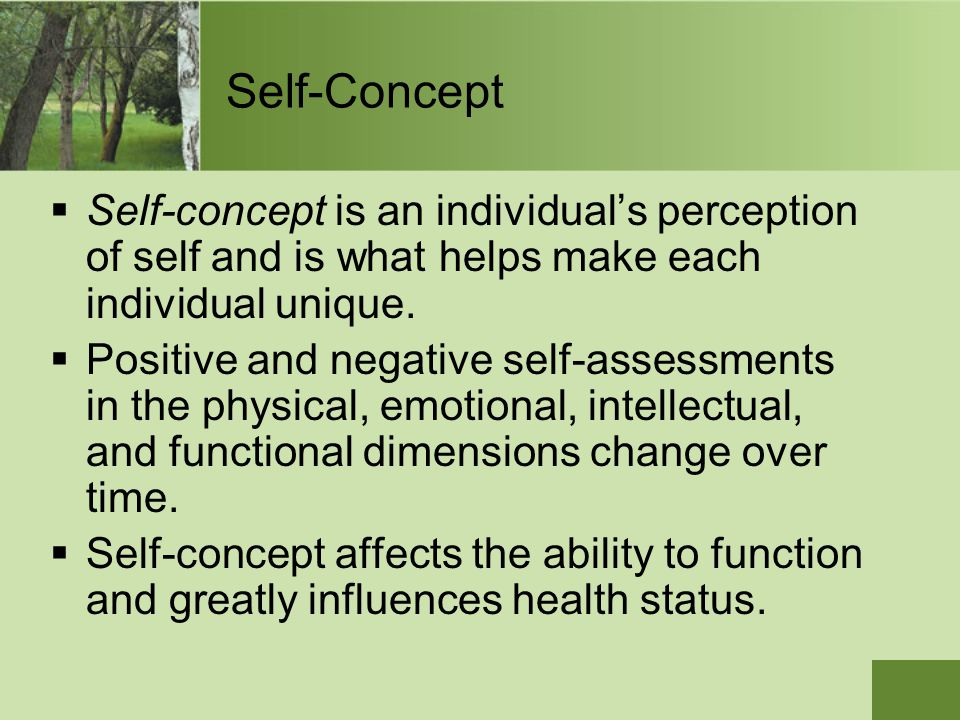 Self-Concept Self-concept is an individual's perception of self and is what helps make each individual unique.